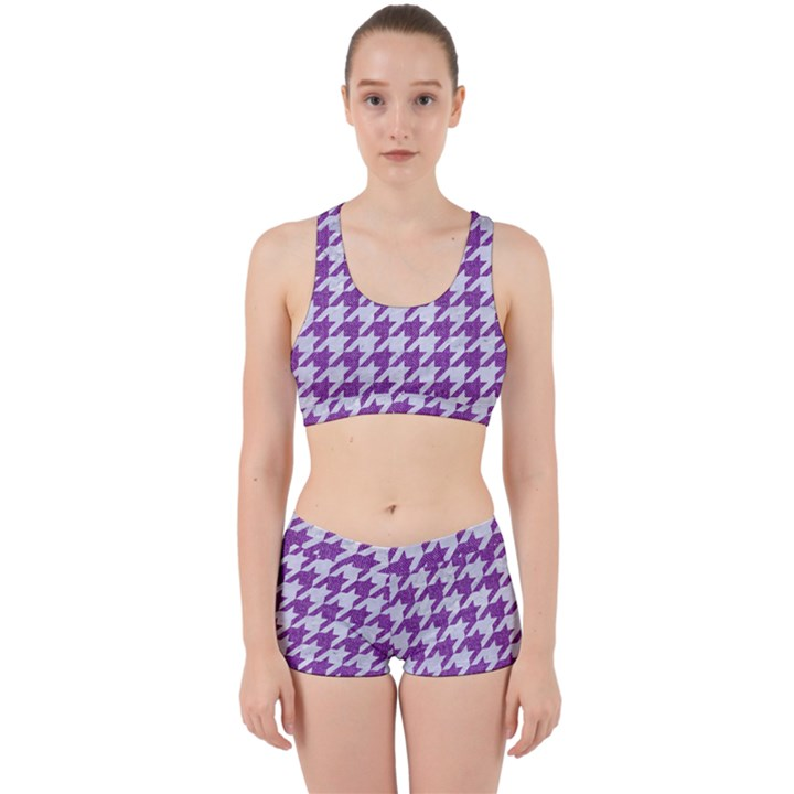 HOUNDSTOOTH1 WHITE MARBLE & PURPLE DENIM Work It Out Gym Set
