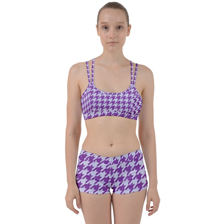 HOUNDSTOOTH1 WHITE MARBLE & PURPLE DENIM Women s Sports Set