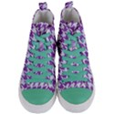 HOUNDSTOOTH1 WHITE MARBLE & PURPLE DENIM Women s Mid-Top Canvas Sneakers View1