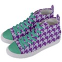 HOUNDSTOOTH1 WHITE MARBLE & PURPLE DENIM Women s Mid-Top Canvas Sneakers View2