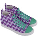 HOUNDSTOOTH1 WHITE MARBLE & PURPLE DENIM Women s Mid-Top Canvas Sneakers View3
