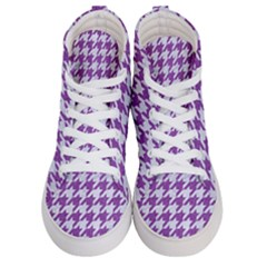 Houndstooth1 White Marble & Purple Denim Women s Hi Top Skate Sneakers