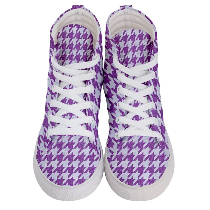 HOUNDSTOOTH1 WHITE MARBLE & PURPLE DENIM Women s Hi-Top Skate Sneakers