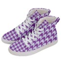 HOUNDSTOOTH1 WHITE MARBLE & PURPLE DENIM Women s Hi-Top Skate Sneakers View2