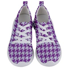 Houndstooth1 White Marble & Purple Denim Women s Lightweight Sports Shoes