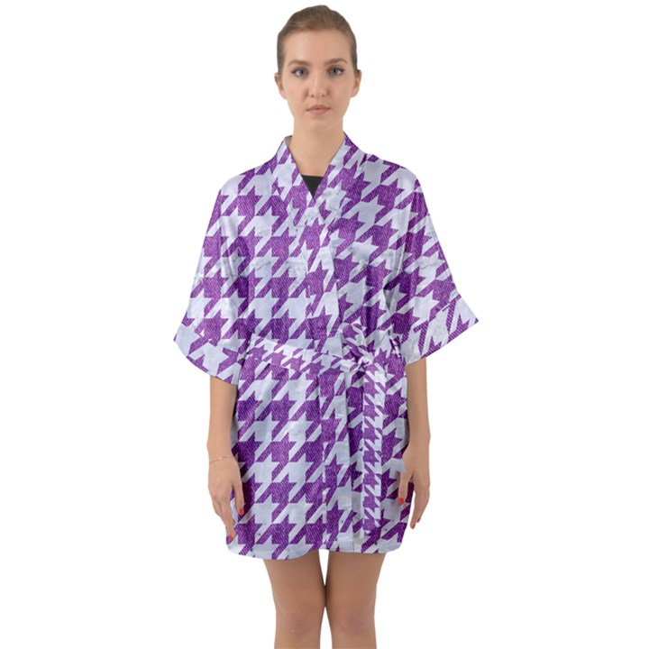 HOUNDSTOOTH1 WHITE MARBLE & PURPLE DENIM Quarter Sleeve Kimono Robe