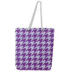 Houndstooth1 White Marble & Purple Denim Full Print Rope Handle Tote (large)