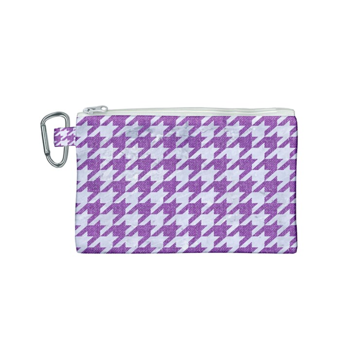HOUNDSTOOTH1 WHITE MARBLE & PURPLE DENIM Canvas Cosmetic Bag (Small)