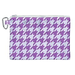 Houndstooth1 White Marble & Purple Denim Canvas Cosmetic Bag (xl)