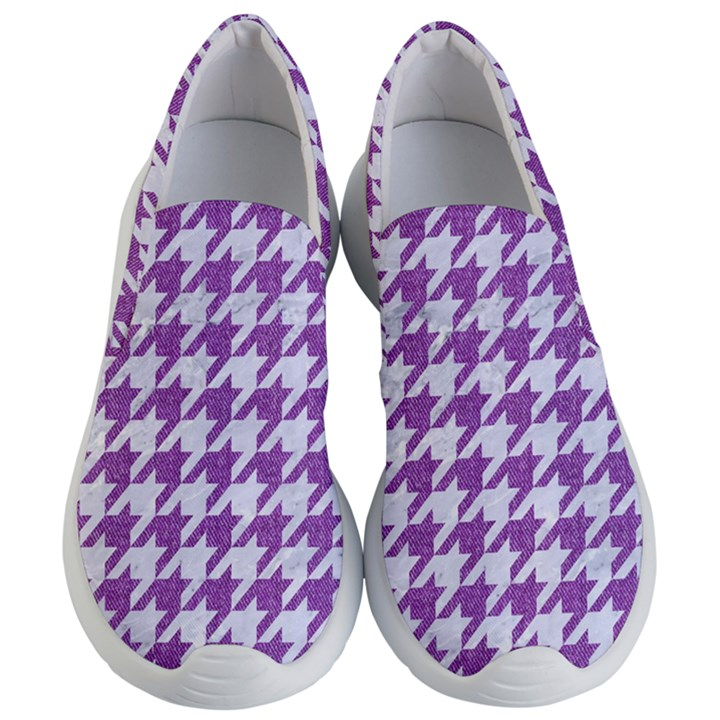 HOUNDSTOOTH1 WHITE MARBLE & PURPLE DENIM Women s Lightweight Slip Ons