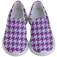 Houndstooth1 White Marble & Purple Denim Kid s Lightweight Slip Ons