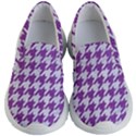 HOUNDSTOOTH1 WHITE MARBLE & PURPLE DENIM Kid s Lightweight Slip Ons View1
