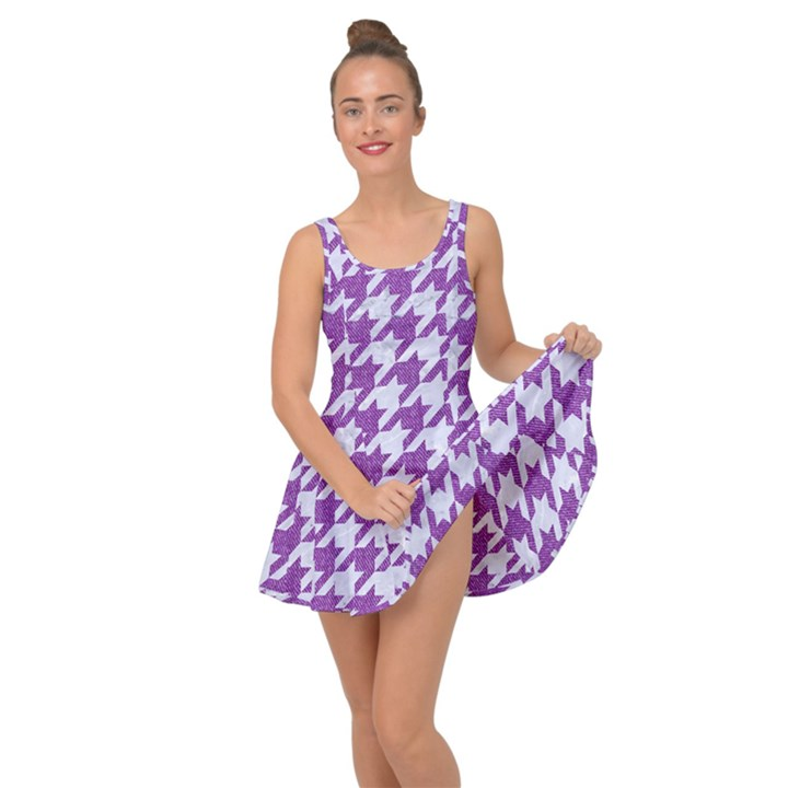 HOUNDSTOOTH1 WHITE MARBLE & PURPLE DENIM Inside Out Dress