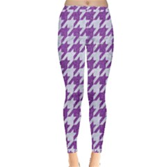 Houndstooth1 White Marble & Purple Denim Inside Out Leggings