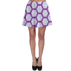 Hexagon2 White Marble & Purple Denim (r) Skater Skirt