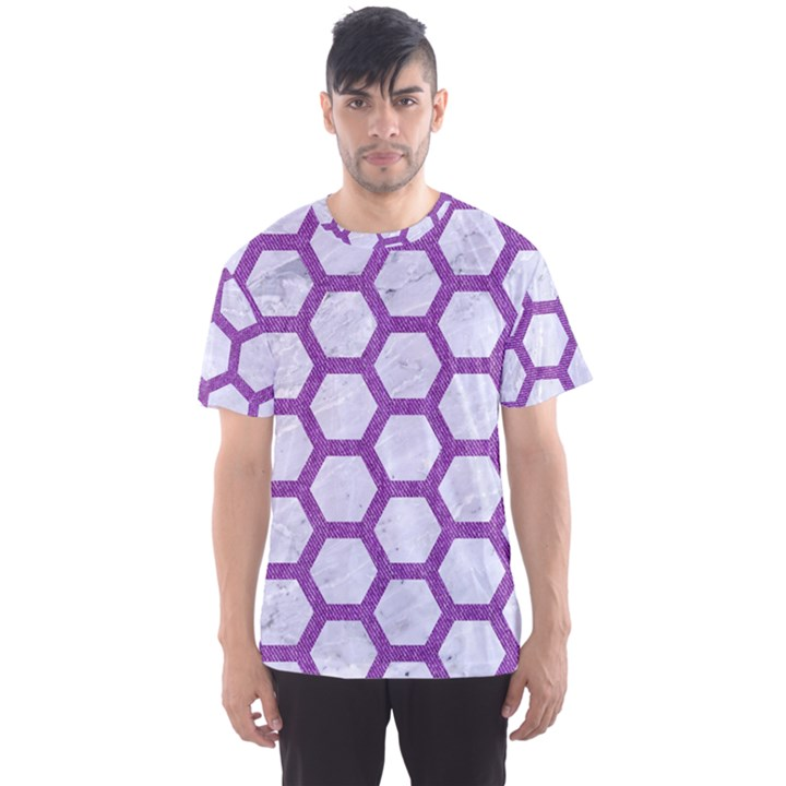 HEXAGON2 WHITE MARBLE & PURPLE DENIM (R) Men s Sports Mesh Tee
