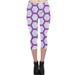 Hexagon2 White Marble & Purple Denim (r) Capri Leggings