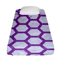 Hexagon2 White Marble & Purple Denim (r) Fitted Sheet (single Size) by trendistuff