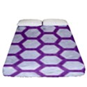 HEXAGON2 WHITE MARBLE & PURPLE DENIM (R) Fitted Sheet (King Size) View1