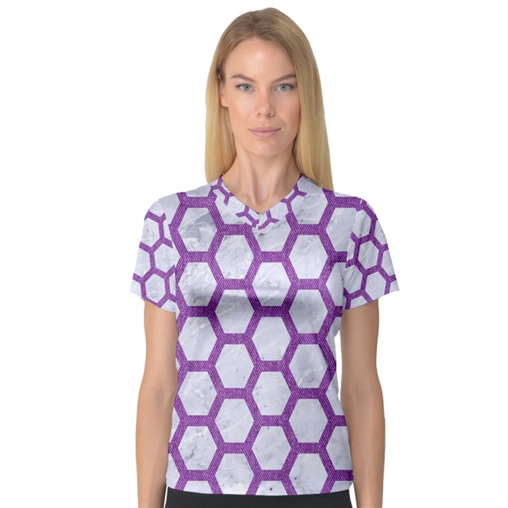 HEXAGON2 WHITE MARBLE & PURPLE DENIM (R) V-Neck Sport Mesh Tee