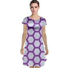 Hexagon2 White Marble & Purple Denim (r) Cap Sleeve Nightdress