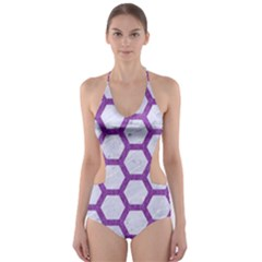 Hexagon2 White Marble & Purple Denim (r) Cut Out One Piece Swimsuit
