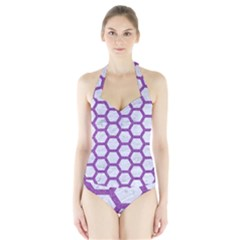 Hexagon2 White Marble & Purple Denim (r) Halter Swimsuit