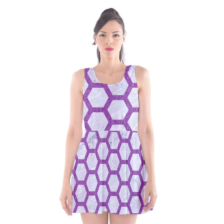HEXAGON2 WHITE MARBLE & PURPLE DENIM (R) Scoop Neck Skater Dress