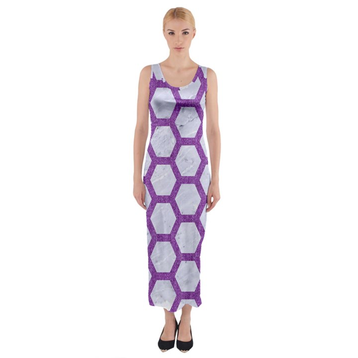 HEXAGON2 WHITE MARBLE & PURPLE DENIM (R) Fitted Maxi Dress
