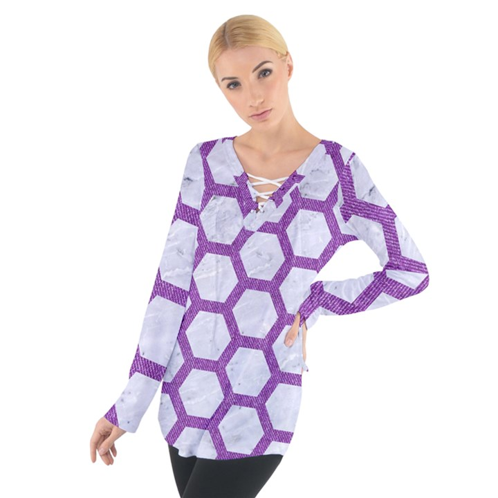 HEXAGON2 WHITE MARBLE & PURPLE DENIM (R) Tie Up Tee