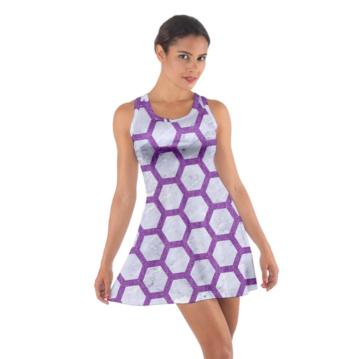 HEXAGON2 WHITE MARBLE & PURPLE DENIM (R) Cotton Racerback Dress