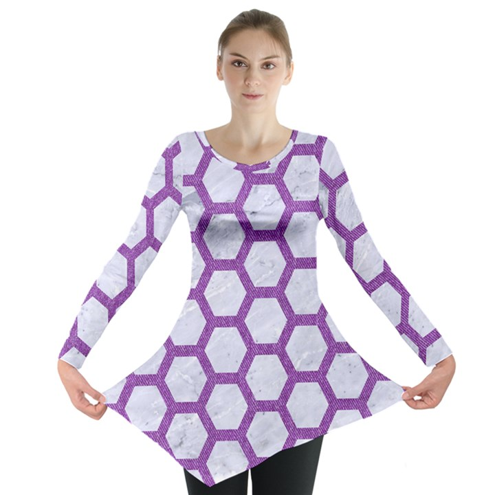 HEXAGON2 WHITE MARBLE & PURPLE DENIM (R) Long Sleeve Tunic