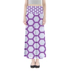 Hexagon2 White Marble & Purple Denim (r) Full Length Maxi Skirt