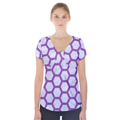 Hexagon2 White Marble & Purple Denim (r) Short Sleeve Front Detail Top
