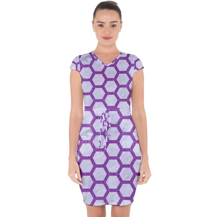 HEXAGON2 WHITE MARBLE & PURPLE DENIM (R) Capsleeve Drawstring Dress