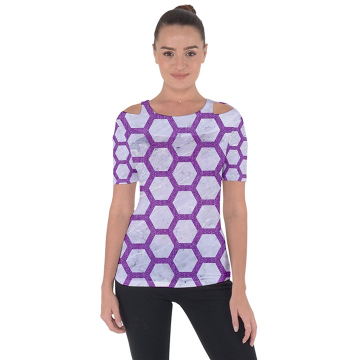 HEXAGON2 WHITE MARBLE & PURPLE DENIM (R) Short Sleeve Top