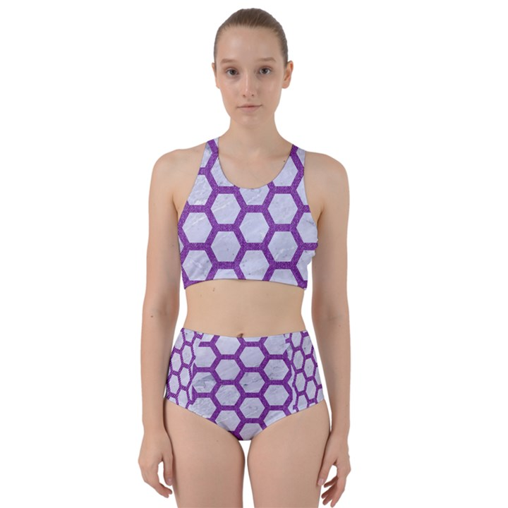 HEXAGON2 WHITE MARBLE & PURPLE DENIM (R) Racer Back Bikini Set
