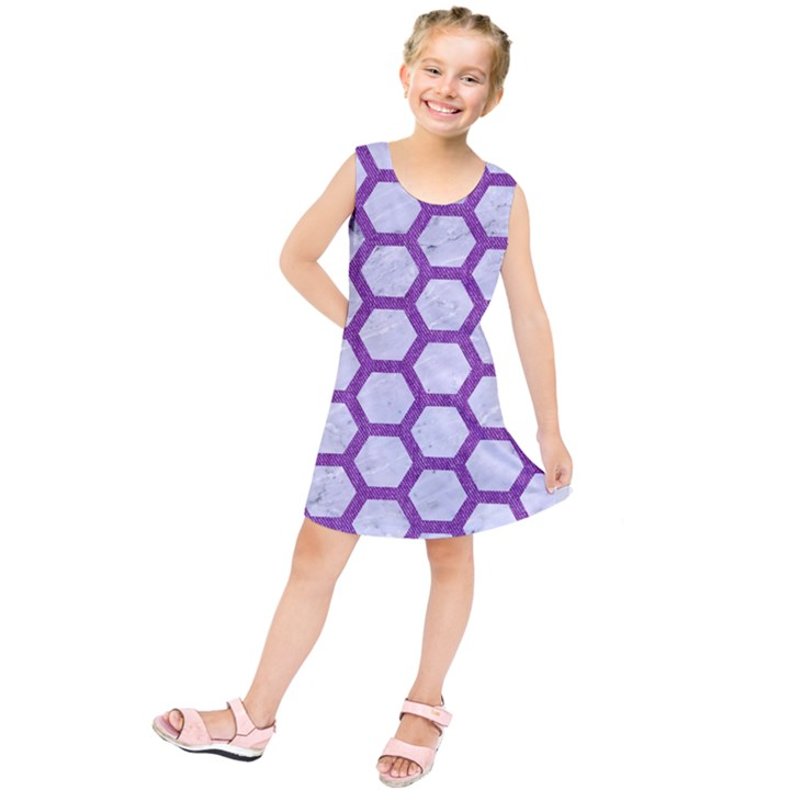 HEXAGON2 WHITE MARBLE & PURPLE DENIM (R) Kids  Tunic Dress