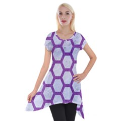 Hexagon2 White Marble & Purple Denim (r) Short Sleeve Side Drop Tunic