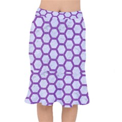 Hexagon2 White Marble & Purple Denim (r) Mermaid Skirt