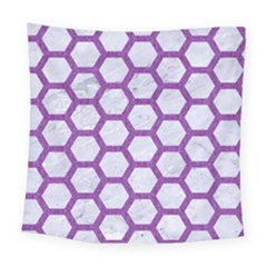 Hexagon2 White Marble & Purple Denim (r) Square Tapestry (large) by trendistuff