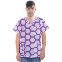 Hexagon2 White Marble & Purple Denim (r) Men s V Neck Scrub Top