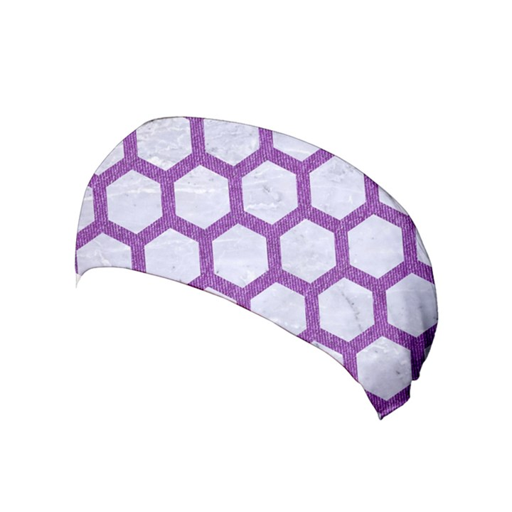 HEXAGON2 WHITE MARBLE & PURPLE DENIM (R) Yoga Headband