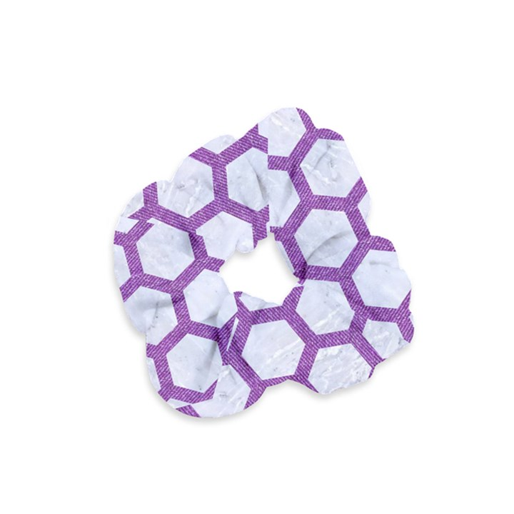 HEXAGON2 WHITE MARBLE & PURPLE DENIM (R) Velvet Scrunchie