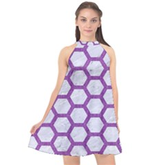 Hexagon2 White Marble & Purple Denim (r) Halter Neckline Chiffon Dress