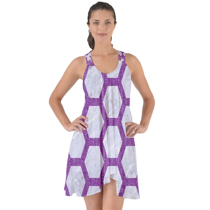 HEXAGON2 WHITE MARBLE & PURPLE DENIM (R) Show Some Back Chiffon Dress