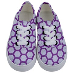 Hexagon2 White Marble & Purple Denim (r) Kids  Classic Low Top Sneakers