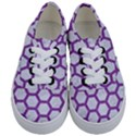 HEXAGON2 WHITE MARBLE & PURPLE DENIM (R) Kids  Classic Low Top Sneakers View1