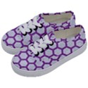 HEXAGON2 WHITE MARBLE & PURPLE DENIM (R) Kids  Classic Low Top Sneakers View2