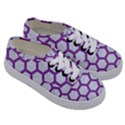 HEXAGON2 WHITE MARBLE & PURPLE DENIM (R) Kids  Classic Low Top Sneakers View3